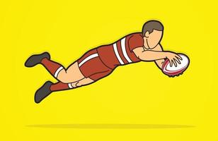 Rugbyspieler springen vektor