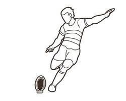 Rugby-Spieler tritt Ball Action Gliederung vektor