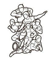 Gruppe von Rugbyspielern skizzieren vektor