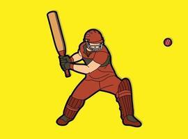 Cricket-Spieler Cartoon-Aktion vektor