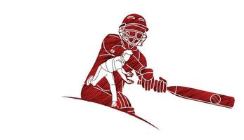 Cricket Männer Spieler Aktion vektor