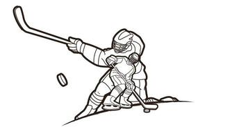Eishockey Männer Spieler Umriss vektor