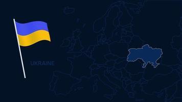 Ukraine auf Europa Karte Vektor-Illustration. Hochwertige Karte Europa mit Grenzen der Regionen auf dunklem Hintergrund mit Nationalflagge. vektor