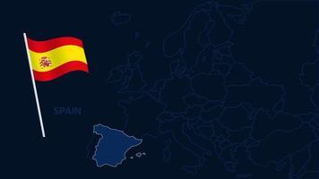 Spanien auf Europa Karte Vektor-Illustration. Hochwertige Karte Europa mit Grenzen der Regionen auf dunklem Hintergrund mit Nationalflagge. vektor