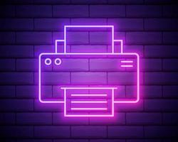 Drucker-Neon-Symbol. Elemente der Technologie gesetzt. einfaches Symbol für Websites, Webdesign, mobile App isoliert auf Mauer vektor