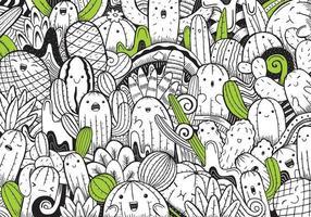 süße Färbung für Kinder mit Kaktus vektor