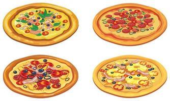 Satz verschiedene Pizzen. vektor