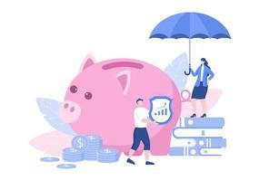 Illustration der Investitionsversicherung für Unternehmen mit Geldschutz-, Spar-, Schutz- oder Finanzsicherheitsdesign vektor