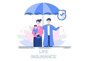 Lebensversicherungen werden für Pensionskassen, Gesundheitswesen, Finanzen, medizinische Versorgung und Schutz eingesetzt vektor