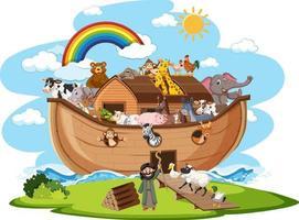Noah Arche mit Tieren isoliert auf weißem Hintergrund vektor