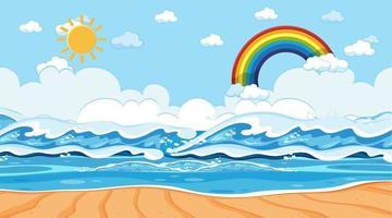 Strandlandschaft zur Tagesszene mit Regenbogen am Himmel vektor