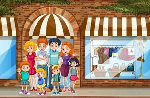 Stadtszene mit der glücklichen Familie, die vor dem Einkaufsladen steht vektor