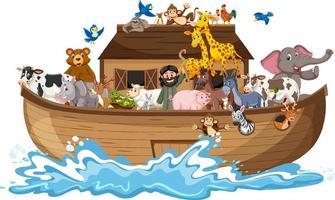 Tiere auf Noahs Arche mit Meereswelle lokalisiert auf weißem Hintergrund vektor