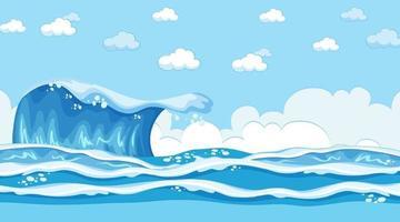Strandlandschaft zur Tagesszene mit Ozeanwelle vektor