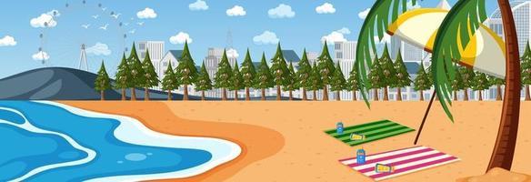 horizontale Strand-Szene zur Tageszeit mit Stadtbildhintergrund vektor