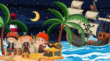skattön scen på natten med piratbarn vektor