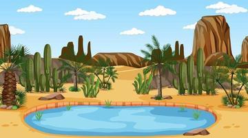 Wüstenwaldlandschaft bei Tagesszene mit Oase vektor