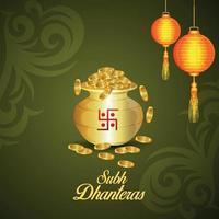 shubh dhanteras gratulationskortdesign med kreativ guldmyntkruka och diwali-lampa vektor