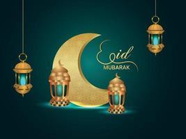 eid mubarak realistiska vektor inbjudningskort och bakgrund