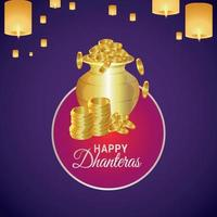 Shubh Dhanteras Grußkarten-Design mit kreativem Goldmünztopf und Diwali-Lampe vektor