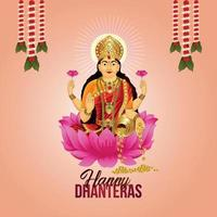 vektorillustration av gudinna laxami för glad gratulationskort för dhanteras firande vektor