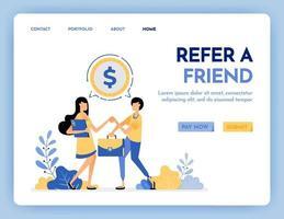 illustration av hänvisa en vän för att få belöning, pengar, vinst, poäng, lön. nätverk för att få pengar. flernivå marknadsföringsarbetare. designkoncept för banner, målsida, webb, webbplats, affisch, ui ux vektor
