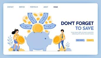 Illustration von nicht vergessen zu speichern. Menschen halten Münzen, um Ersparnisse, Finanzen und Investitionen zu tätigen. Geld flog ins Sparschwein. Designkonzept für Banner, Landing Page, Web, Website, Poster, UI UX vektor