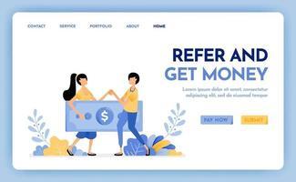 illustration av hänvisa en vän för att få belöning, pengar, vinst, poäng, lön. flernivå marknadsföringsarbetare. anställa för att få pengar. designkoncept för banner, målsida, webb, webbplats, affisch, ui ux vektor