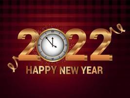 gratulationskort för gott nytt år med kreativ gyllene texteffekt vektor