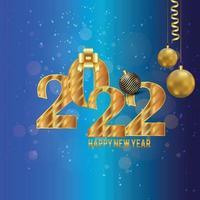 gott nytt år 2022 firande bakgrund med kreativ texteffekt vektor