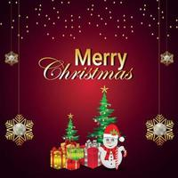 vektorillustration av gratulationskort för god jul med jultomten med kreativa gåvor och julgran vektor