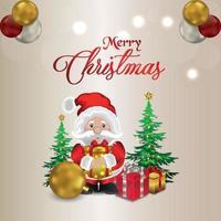 Vektorillustration der frohen Weihnachtsfeier-Grußkarte mit Santa vektor