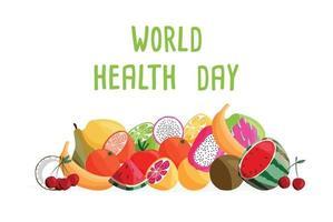 horizontale Plakatschablone des Weltgesundheitstages mit Sammlung frischer Bio-Früchte. bunte Hand gezeichnete Illustration auf weißem Hintergrund. vegetarisches und veganes Essen. vektor