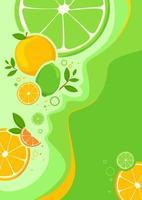 Plakatschablone mit Orangen und Limetten. vektor