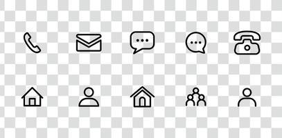 Kontaktschnittstellensymbole packen, SMS-Nachrichten, Chat, Telefon, Telefonnummer und andere Sammlung vektor