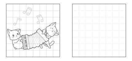 Kopieren Sie das Bild von Katzen spielen Akkordeon Cartoon vektor