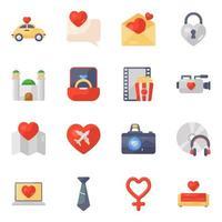 Hochzeits- und Liebesbrief-Symbolsatz vektor