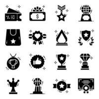 Werbepreise und Medaillen Icon Set vektor