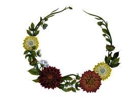 Kranz aus Dahlien. Blumenrahmen vektor