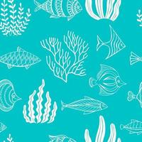 nahtloses Muster von Zierfischen und Algen. Vektorillustration. Perfekt für Grüße, Einladungen, Herstellung von Geschenkpapier, Textilien, Webdesign. vektor