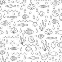 Vektorkritzelsatz von Meeresfischen verschiedener Formen, lokalisiert auf weißem Hintergrund. Illustration für Design zum Thema Meerestiere, Meer, Reisen. vektor