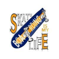 Skateboarding T-Shirt Design. Urban Skating. Skateboard Typografie. vektor