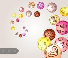 kreativa 3d-bollar. abstrakt bakgrund. vektor