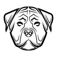 Schwarzweiss-Linienkunst des Rottweiler-Hundekopfes. vektor