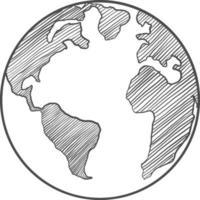 Erdzeichnung auf weißem Hintergrund vektor