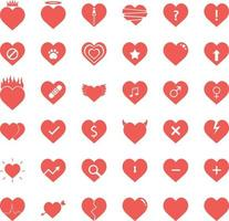 hjärta ikoner set vektor