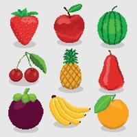uppsättning hög detaljerade pixelfrukter för spelikoner vektor