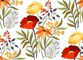 sömlösa mönster med ljusa blommor vektor