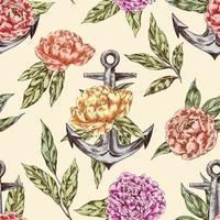 Vintage nahtloses Muster mit Anker und Pfingstrosen vektor