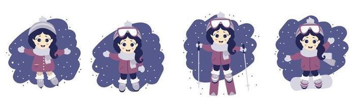 Satz Mädchen und Wintersport. süßes Mädchen beim Skifahren, Eislaufen und Snowboarden auf einem blauen Hintergrund mit Schnee. Vektorillustration. Kinderkollektion für Postkarten, Design und Druck. flaches Design vektor